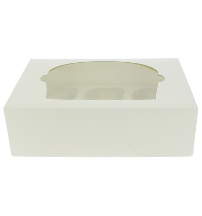 Papieren Cake vorm zak 6 Slots wit 24,3x16,5x7,5cm (100 stuks)