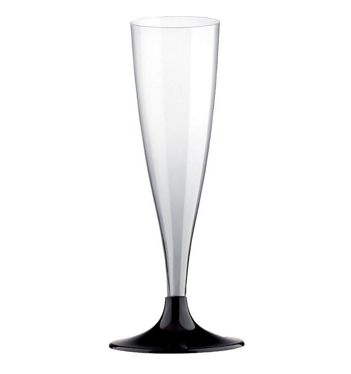 Plastic stam fluitglas Mousserende Wijn zwart 140ml 2P (20 stuks)