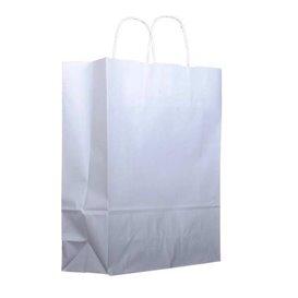 Papieren zak met handgrepen kraft wit 100g 25+13x33cm (200 stuks)