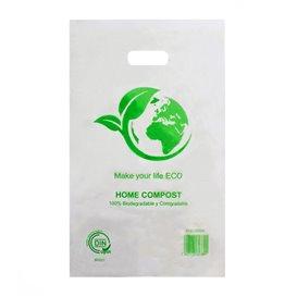 Plastic zak met gestanst handvat 100% Biologisch afbreekbaar 20x33cm (100 stuks)