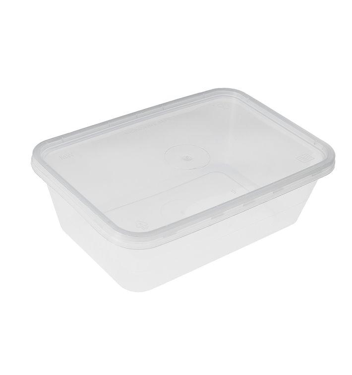 Plastic Container en Plastic Deksel PP Rechthoekige Vorm 500ml (50 Stuks)