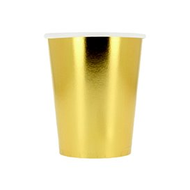 "Papieren beker goud 9Oz/240ml ""Party"" (10 stuks)"
