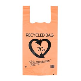 Plastic Hemddraagtassen 70% Gerecycled Oranje 42x53cm 50µm (50 stuks)