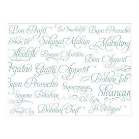 """Placemat van Papier Turkoois """"Buen Provecho"""" 30x40cm 40g/m² (1.000 Stuks)"""