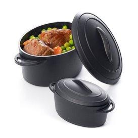 Proeverij ovenschotel met deksel PP zwart 300ml (4 stuks)