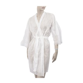 "Wegwerp-laboratoriumjas ""Kimono"" Das belt zak""TST"" PP wit XL (100 stuks)"