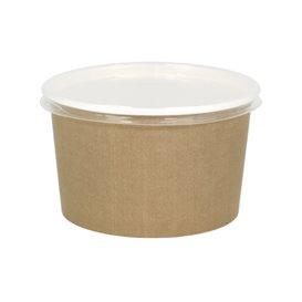 Papieren Soep Kom met Deksel Kraft PP 16 Oz/473ml (25 stuks)