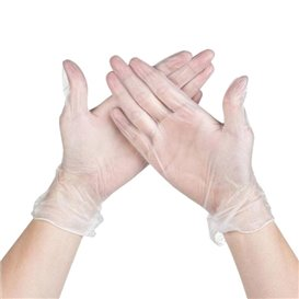 Vinenl handschoenenen transparant maat L (1000 stuks)
