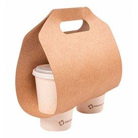 Papieren kraft beker vervoerder 46,5x22,5cm Ø6,7cm (100 stuks)