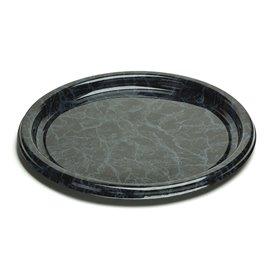 Plastic dienblad Rond vormig marmer 30 cm (5 stuks)