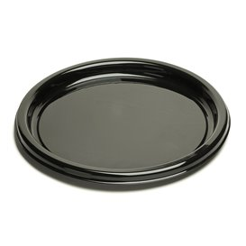 Plastic bord Rond vormig zwart 23 cm (25 stuks)