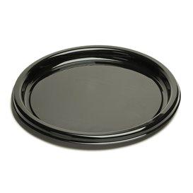 Plastic bord Rond vormig zwart 23Cm (250 stuks)
