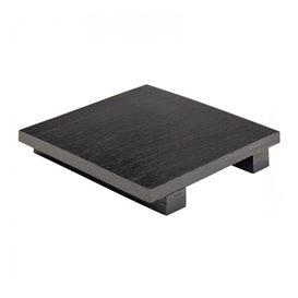 Bamboe sushi dienblad zwart 15x15x2,5cm (1 stuk)