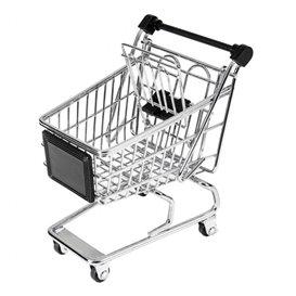 Mini stalen winkelwagen13x13,5x9,5cm (1 stuk)