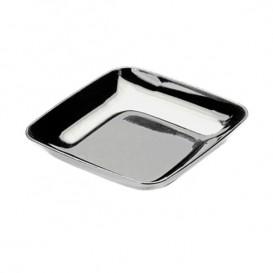 Plastic PS proefschotel zilver 6x6x1 cm (200 stuks)