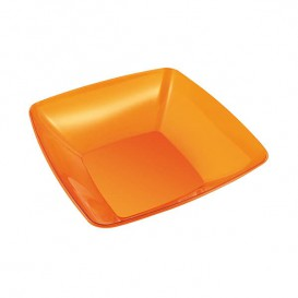 Plastic Kom PS Kristal Hard oranje 480ml 14x14cm (4 stuks)