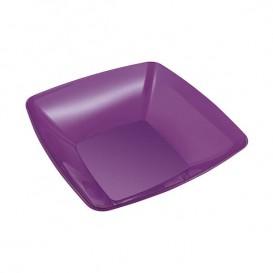 Plastic Kom PS Kristal Hard aubergine kleur 480ml 14x14cm (4 stuks)