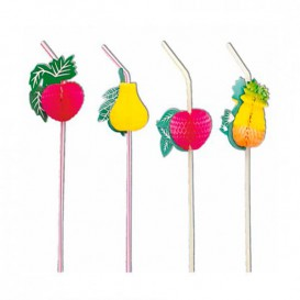 Plastic rietje flexibel PS Fruit Design Ø0,5cm 23cm (100 stuks)