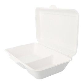 """Suikerriet Gescharnierd Container """"Menu Box"""" 2 Compartmenten wit 22,5x16,5x6,4cm (500 stuks)"""