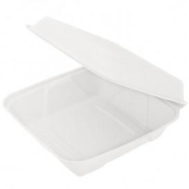 """Suikerriet Gescharnierd Container """"Menu Box"""" wit 22,5x22,5x7,5cm (50 stuks)"""