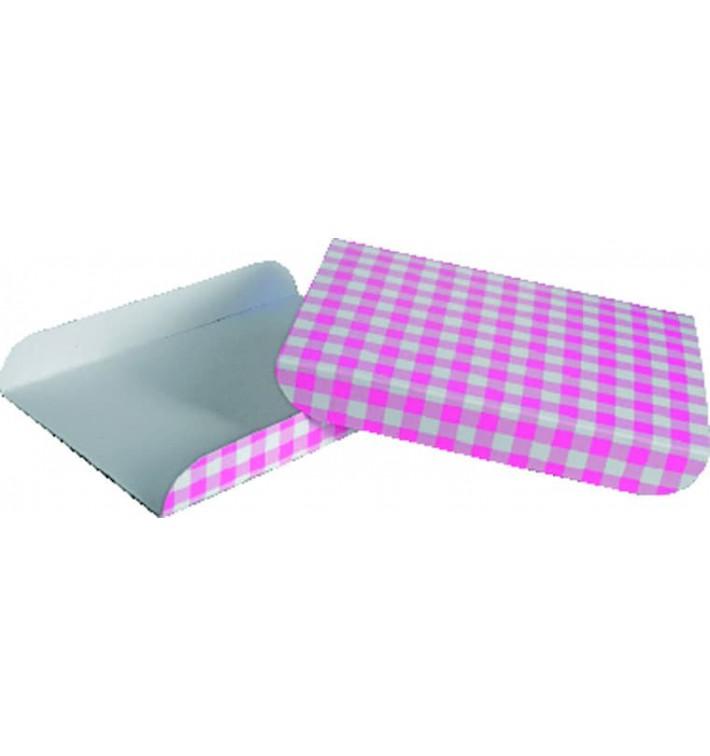 Papieren dienblad voor een wafel roze 13,5x10cm (1500 stuks)