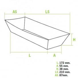 BIO Kartonnen frikandelbakjes 17x5,5x3,8cm (1000 stuks)