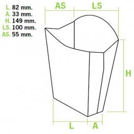 Papieren Container voor frietengroot maat 8,2x3,3x14,9cm (400 stuks)