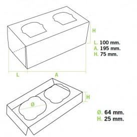 Papieren Cake vorm zak 2 Slots wit 19,5x10x7,5cm (160 stuks)