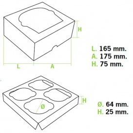 Papieren Cake vorm zak 4 Slots wit 17,3x16,5x7,5cm (140 stuks)