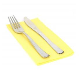 Papieren servet dubbel punt geel 1/8 40x40cm (50 stuks)