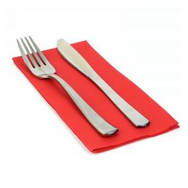 Papieren servet dubbel punt rood 1/8 40x40cm (50 stuks)