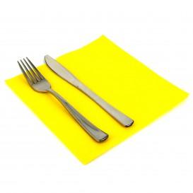 Papieren servet dubbel punt geel 40x40cm (1.200 stuks)