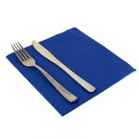 Papieren servet dubbel punt blauw 40x40cm (50 stuks)