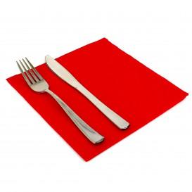 Papieren servet dubbel punt rood 40x40cm (50 stuks)