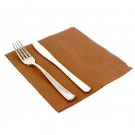 Papieren servet dubbel punt bruin 40x40cm (50 stuks)