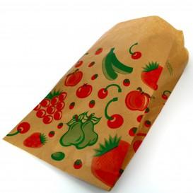 Papieren voedsel zak Fruit Design 18+10x32cm (100 stuks)